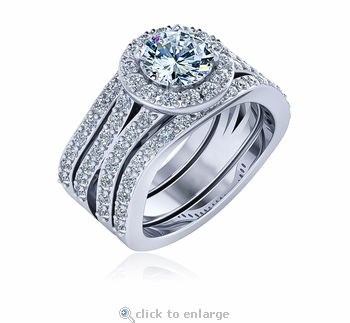 Viraje 1 Carat Round Halo Curved Split Shank Pave Cubic Zirconia Three Ring Wedding Set