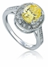 Virginia 1.5 Carat Oval Cubic Zirconia Pave Halo Solitaire Engagement Ring