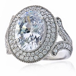 Vista 5.5 Carat Oval Cubic Zirconia Double Halo Engagement Cocktail Ring
