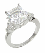 Vitari 4 Carat Radiant Emerald Cut With Trillions Cubic Zirconia Three Stone Engagement Ring
