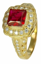 Vitenna 1.5 Carat Princess Cut Square Man Made Ruby Halo Cubic Zirconia Pave Ring