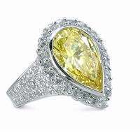 Viva Le Diva 4 Carat Pear Cubic Zirconia Pave Halo Solitaire Engagement Ring