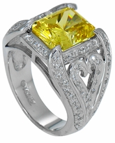 Voilla 4 Carat Emerald Radiant Cut Canary Cubic Zirconia Pave Heart Design Engagement Ring