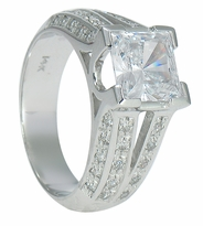 Volusia 1.5 Carat Princess Cut Cubic Zirconia Pave Split Shank Solitaire Engagement Ring