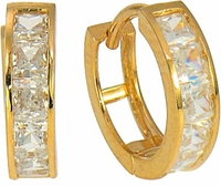 Wagner Channel Set Princess Cut Cubic Zirconia Huggie Hoop Earrings