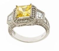 Waldorf 2.5 Carat Princess Cut Canary Cubic Zirconia Antique Estate Style Trapezoid Ring