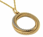 Whirlwind Pave Twisted Rope Cubic Zirconia Circle Pendant