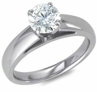 Wide Cathedral Style 1.5 Carat Round Cubic Zirconia Solitaire Engagement Ring