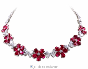 Willow Pear Shape Cubic Zirconia Daisy Flower Statement Necklace