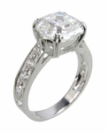 Winston 1.5 Carat  Asscher Inspired Cubic Zirconia Cathedral Pave Bridal Set with Contoured Matching Band