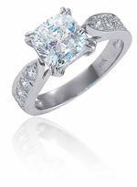 Winston 1.5 Carat Cushion Cut Cubic Zirconia Pave Cathedral Solitaire Engagement Ring