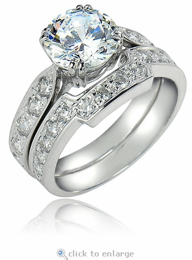 Winston 1.5 Carat Round Cubic Zirconia Cathedral Pave Bridal Set with Contoured Matching Band