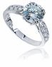 Winston 1.5 Carat Round Cubic Zirconia Pave Cathedral Solitaire Engagement Ring