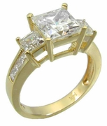 Winston 1.5 Carat Three Stone Princess Cut Cubic Zirconia Engagement Ring