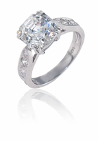 Winston 2.5 Carat Asscher Cut Cubic Zirconia Cathedral Pave Solitaire Engagement Ring