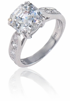 Winston 4 Carat Asscher Cut Cubic Zirconia Cathedral Pave Solitaire Engagement Ring