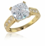 Winston 4 Carat Cathedral Cushion Cut Cubic Zirconia Pave Split Prong Solitaire Engagement Ring