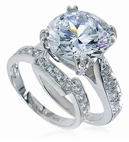 Winston 4 Carat Round Cubic Zirconia Cathedral Pave Bridal Set with Contoured Matching Band