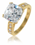 Winston 5.5 Carat Cathedral Cushion Cut Cubic Zirconia Pave Split Prong Solitaire Engagement Ring