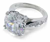 Winston 5.5 Carat Round Cubic Zirconia Pave Cathedral Solitaire Engagement Ring