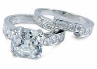 Winston Asscher Inspired Cubic Zirconia Cathedral Pave Bridal Set with Matching Contoured Band