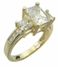 Winston Emerald Cut Cubic Zirconia Princess Cut Three Stone Ring