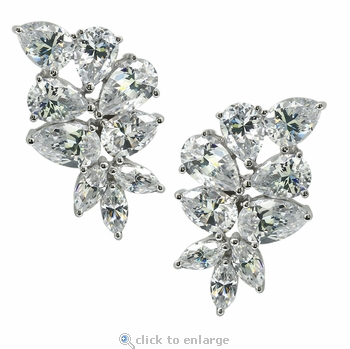 Winston Pear Marquise Cubic Zirconia Cluster Stud Earrings