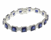 Winston Sapphire Man Made Gemstone Alternating Princess Cut Cubic Zirconia Bracelet