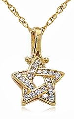 Woven Star Pave Set Round Cubic Zirconia Pendant