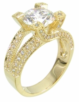 Xira 2 Carat Round Cubic Zirconia Bypass Prong Pave Solitaire Engagement Ring