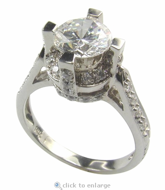 York 1.5 Carat Cubic Zirconia Round Cathedral Antique Estate Style Solitaire