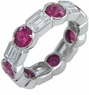 Zuma Alternating Bezel Set Man Made Ruby Round and Emerald Step Cut Cubic Zirconia Eternity Band