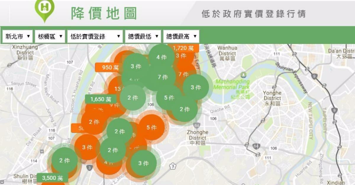 小家庭、小資買屋終於能鬆口氣!【降價地圖】隨時快蒐