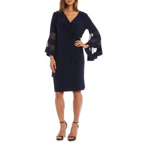 R & M Richards Navy Illusion Bell Sleeve Dress