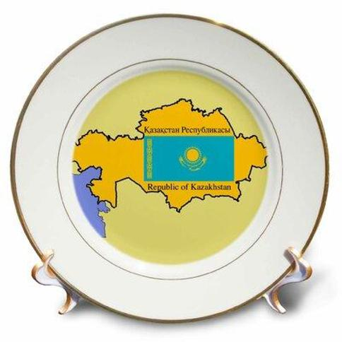 East Urban Home Map and Flag of Kazakhstan with Republic of Kazakhstan Printed in English and Russian Porcelain Decorative Plate X112170779