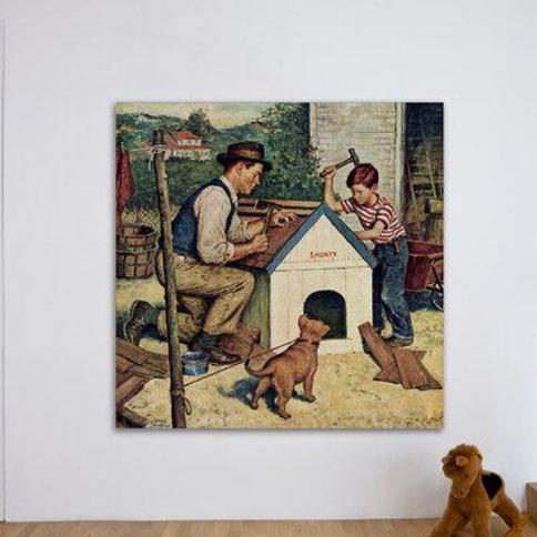 "Marmont Hill Building the Doghouse by Amos Sewell Painting Print on Wrapped Canvas MH-RETR-181-C- Size: 24"" H x 24"" W"