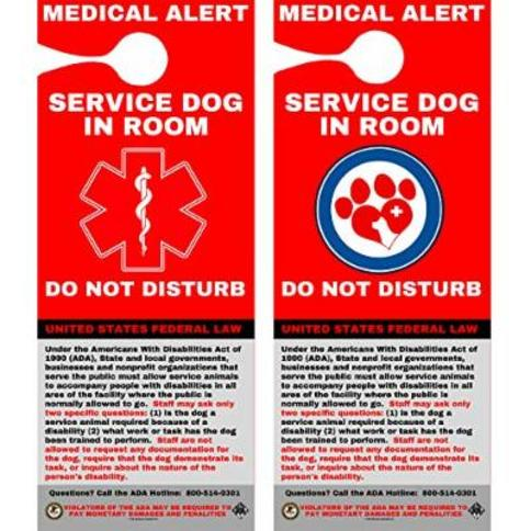 Service Dog Door Hanger, Double Sided & Laminated, Service Animal ADA INFO Hanger ID Card (SDDH-112) Quantity (5)