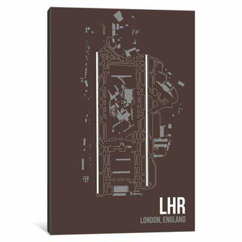 """East Urban Home Airport Diagram Series 'London (Heathrow)' Graphic Art Print on Wrapped Canvas VSCI8116 Size: 40"""" H x 26"""" W x 1.5"""" D"""