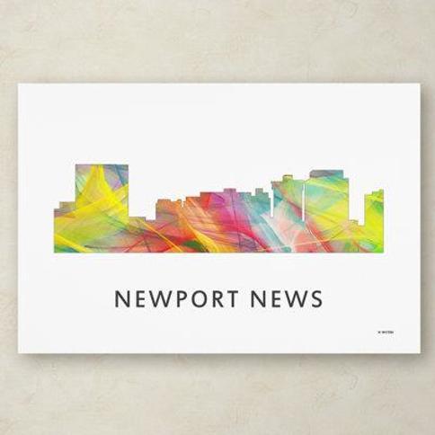 "Trademark Fine Art ""Newport News Virginia Skyline WB-1"" by Marlene Watson Graphic Art on Wrapped Canvas MW0399-C Size: 22"" H x 32"" W x 2"" D"
