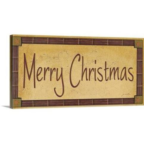 "Great Big Canvas 'Christmas Art 'Merry Christmas' by Jo Moulton Textual Art 2044845_1 Size: 12"" H x 24"" W x 1.5"" D Format: Canvas"