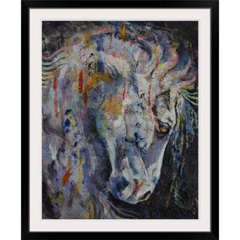 """Great Big Canvas 'Knight of Chess' by Michael Creese Painting Print 2386985_1 Format: Black Frame Size: 32"""" H x 27"""" W x 1"""" D"""