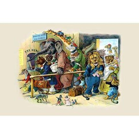 Buyenlarge 'For Everyone's bumping pushing and brawling' by G.H. Thompson Painting Print 0-587-22476-2