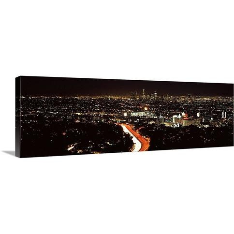 """""""City lit up at night, Hollywood, City Of Los Angeles, Los Angeles County, California"""" Canvas Wall Art"""