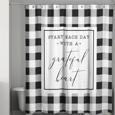 Gracie Oaks Sabin Start Each Day with a Grateful Heart Single Shower Curtain X111039754