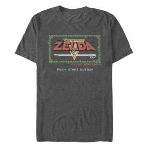 Nintendo Men's Legend of Zelda Push Start Button Short Sleeve T-Shirt