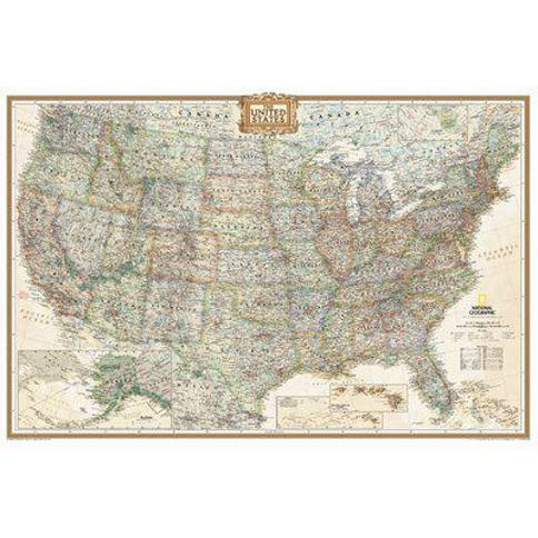 """National Geographic Maps United States Executive Wall Map RE00620114 Map Type: Poster (24"""" x 36"""")- Paper"""
