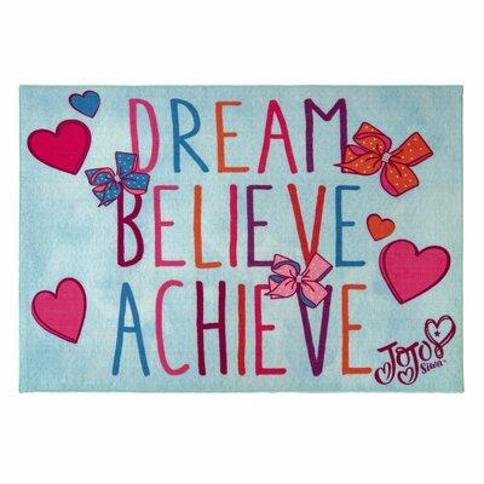 G.A. Gertmenian & Sons Jojo Siwa Kids Dream Believe Achieve Blue Area Rug 31199