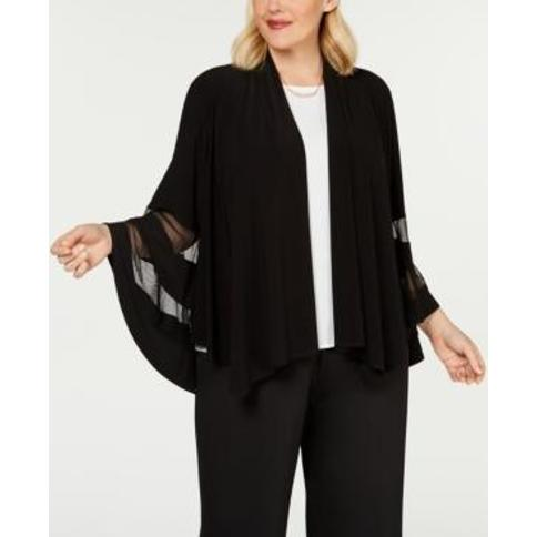 R & M Richards Plus Size Illusion-Trim Shrug
