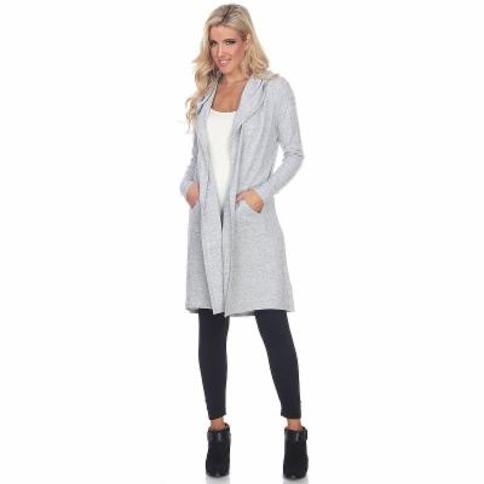 Women's White Mark Hooded Cardigan, Grey