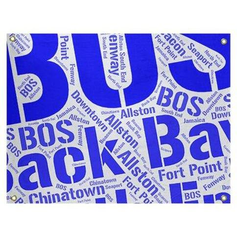 """East Urban Home Polyester Districts Word Art Tapestry FCOI4279 Color: Blue Size: 26"""" H x 36"""" W City: Boston"""